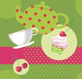 Vector illustration of tea party set.