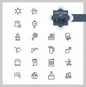 Heavy Work Icons. Set Of Line Icons. Miner, Sapper, Police. Heavy Work Concept. Vector Illustration  poster