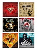 stock photo of embalming  - Set of 6 Fun Halloween Drink Bottle labels - JPG