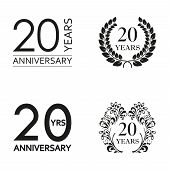 20 Years Anniversary Set. Anniversary Icon Emblem Or Label Collection. 20 Years Celebration And Cong poster