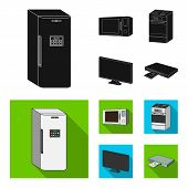 Home Appliances And Equipment Black, Flat Icons In Set Collection For Design.modern Household Applia poster