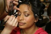 pic of makeup artist  - Having makeup applied by make up artist for photograph session - JPG