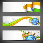 pic of bharatanatyam  - illustration of set of banner for colorful India - JPG
