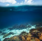 Collage of underwater coral reef and sea surface and cloudy sky