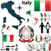 stock photo of wind-rose  - Vector set of Italy country shape with flags wind rose and icons isolated on white background - JPG