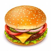 image of sesame seed  - detailed vector hamburger icon on white background - JPG