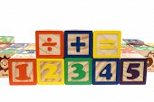 Blocks Numbers And Math Signs poster