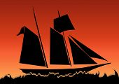 stock photo of pirate ship  - Vector illustration of a sailboat on sunset on a open sea - JPG