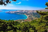 Adriatic town of Baska aerial view