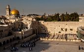 stock photo of tora  - The Wailing wall in Jerusalem in the afternoon - JPG