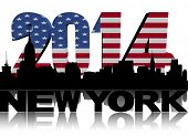 New York skyline with 2014 American flag text illustration