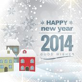 picture of new year 2014  - vector new year 2014 design with colorful house - JPG