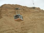 stock photo of masada  - Cable car to the Masada fortress - JPG
