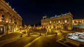 Panorama Of Piazza Del Campidoglio On Capitoline Hill With Palazzo Senatorio And Equestrian Statue O