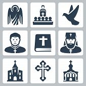 Vector Christian Religion Icons Set