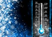 stock photo of thermometer  - Below zero - JPG