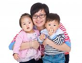 foto of identical twin girls  - Mother with twins - JPG