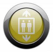 stock photo of elevator icon  - Icon Button Pictogram Illustration Image with Elevator symbol - JPG