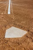 stock photo of tan lines  - Home plate with the third base line - JPG