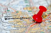 foto of alabama  - birmingham alabama city pin on the map - JPG