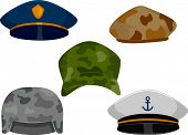 foto of headgear  - llustration Featuring Different Types of Hats Associated with the Military - JPG