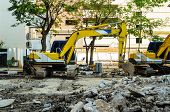 picture of crusher  - A Concrete Crusher demolishing reinforced concrete structures - JPG