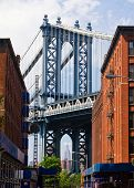 stock photo of street-art  - New York City street scene with bridge and buildings in Brooklyn - JPG