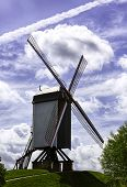 stock photo of bonnes  - The Bonne Chiere windmill on the dike of Bruges - JPG