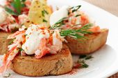 stock photo of cooked crab  - Crab meat with toast - JPG