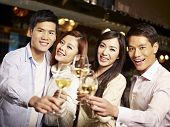 picture of japan girl  - young asian friends couples enjoying party in pub - JPG