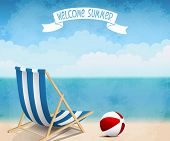 stock photo of beachfront  - Vector illustration summer beach with deck chair and ball - JPG