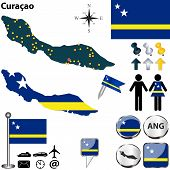 pic of curacao  - Vector of Curacao set with detailed map flags and icons - JPG