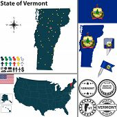 stock photo of burlington  - Vector set of Vermont state with flag and icons on white background - JPG