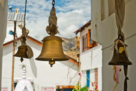 pic of himachal  - Bronze bells in front of Buddhist Temple - JPG