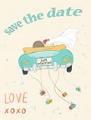 picture of married  - Just married couple in retro car dragging cans - JPG