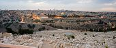 picture of aqsa  - The temple mount and the graves from the mount of olives in front in the twilight in Jerusalem - JPG