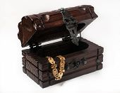 image of treasure  - wooden jewelery box packed with accessories - JPG