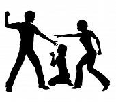 picture of spanking  - The father beats up his daughter while the mother tries to intervene - JPG