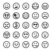 stock photo of emoticons  - set of 25 emoticon icons on white background - JPG