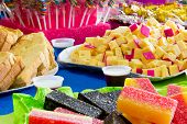 pic of reveillon  - Colorful table with many delicious food  - JPG