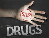 foto of crack addiction  - Educational and Creative composition with the message Stop Drugs on the blackboard - JPG