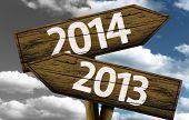 pic of past future  - The 2014 wooden sign in the future and 2013 in the past - JPG