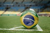 foto of brasilia  - Brazil soccer ball on the soccer field - JPG