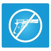 image of crossed pistols  - no gun sign in blue square button - JPG