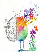 foto of hemisphere  - Use of brain hemispheres artwork - JPG