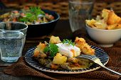 picture of posh  - mushroom ragout with poshed egg also croutons