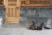 image of peddlers  - Homeless man in India sleeping on the street - JPG
