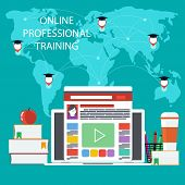picture of online education  - Set icons for online education training - JPG