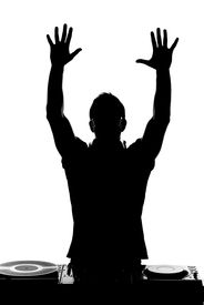 image of disc jockey  - One disc jockey man in silhouette on white background - JPG