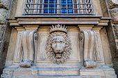 picture of lions-head  - Lion head relief on the facade of Pitti Palace - JPG